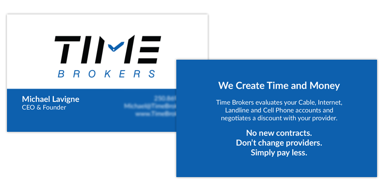 Time Brokers business cards