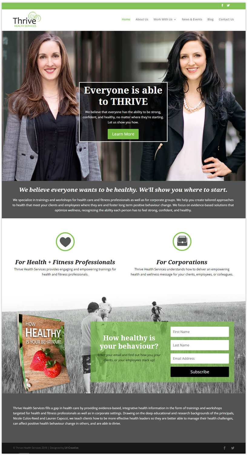 Thrive Health Services website