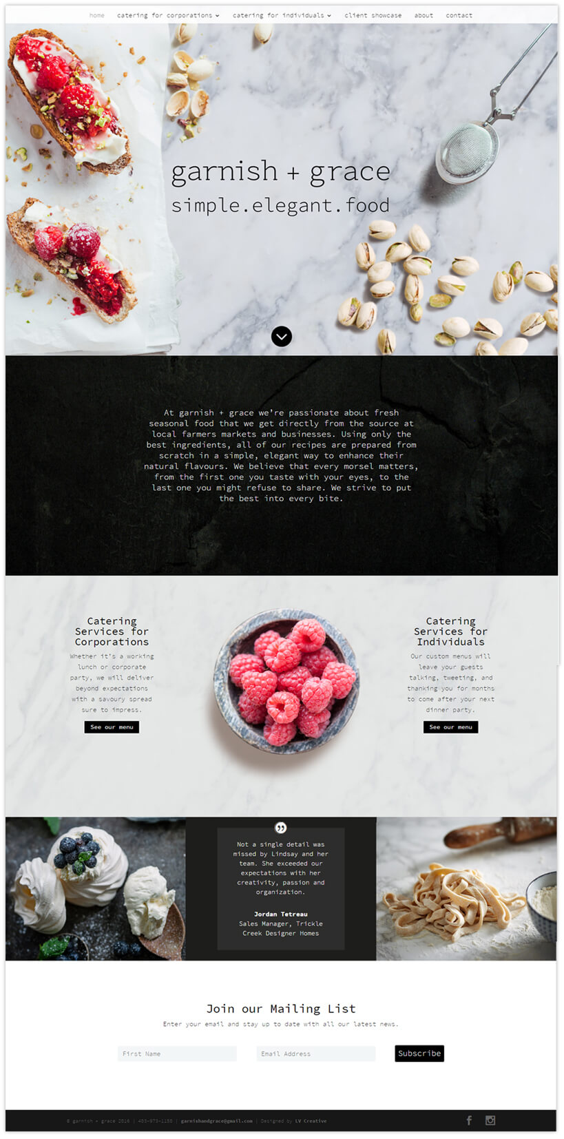 garnish + grace web pages