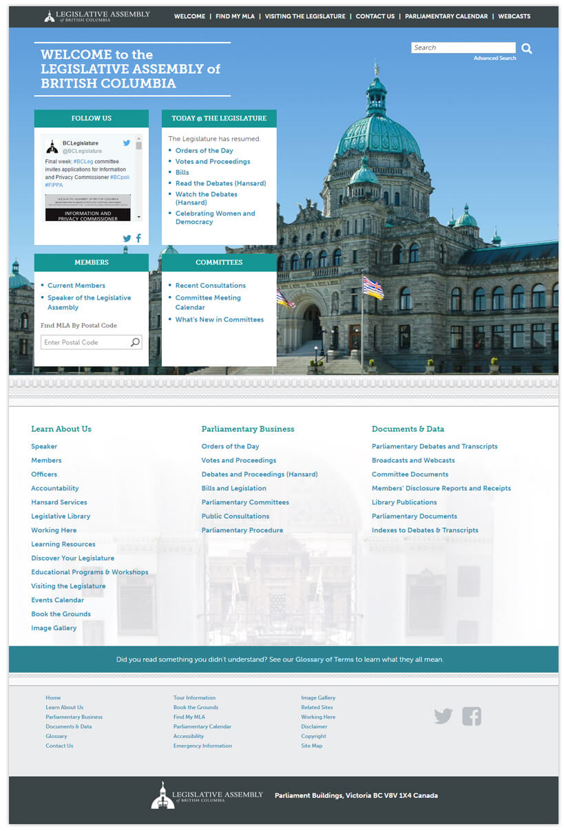 The Legislative Assembly of British Columbia website
