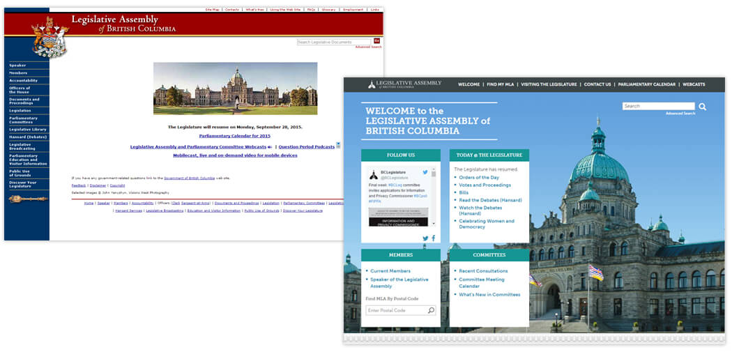 Before and after images of the Legislative Assembly of British Columbia's website
